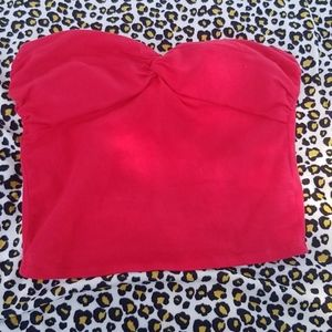 Red cropped tube top